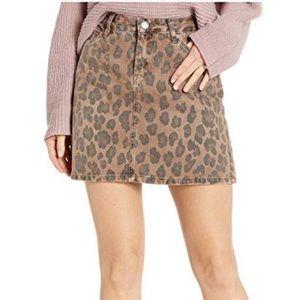 NWT BLANKNYC Leopard Print A-Line Denim Skirt
